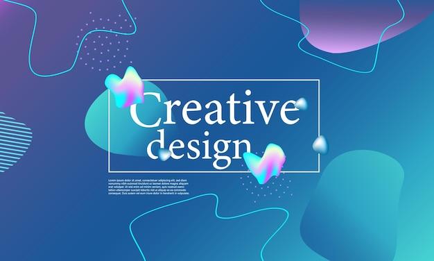 Состав жидких форм. волнистый абстрактный дизайн обложки. креативные красочные обои. модный градиентный плакат. векторная иллюстрация.