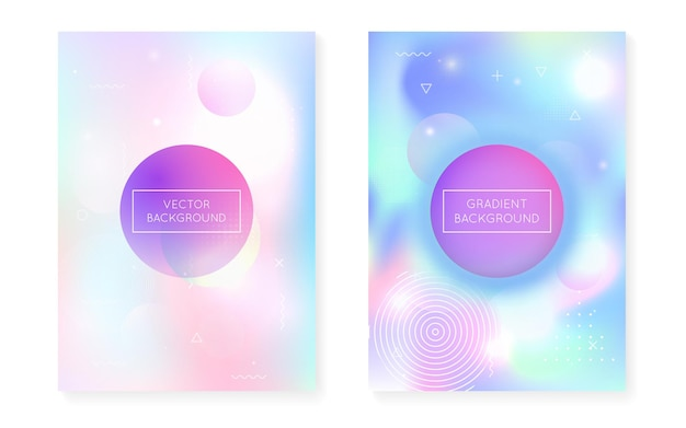 Fluid shapes cover with liquid dynamic background. holographic bauhaus gradient with memphis. graphic template for book, annual, mobile interface, web app. vibrant fluid shapes cover.