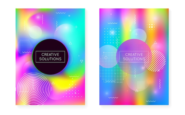 Fluid shapes cover with liquid dynamic background. holographic bauhaus gradient with memphis. graphic template for brochure, banner, wallpaper, mobile screen. bright fluid shapes cover.