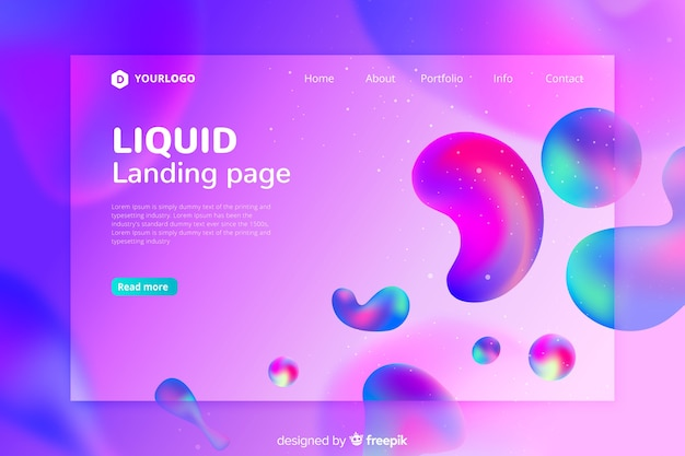 Fluid shapes landing page template