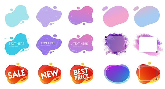 Fluid shapes liquid design vector and gradient splash graphics for quotes copy space frames template