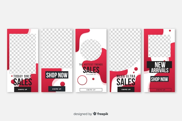 Fluid shapes sale instagram stories template pack