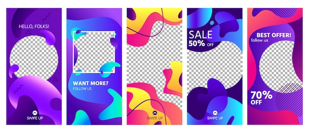 Fluid shapes stories template. colorful abstract shape social media story posts trends, photo frames templates layout set