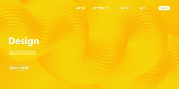 Плавные формы. желтый фон 3d. современный дизайн. жидкий фон.