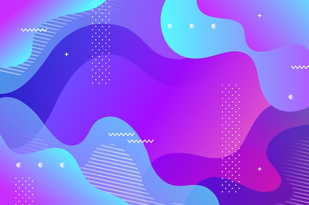 Fluid style background with memphis elements