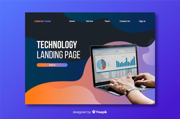 Fluid tachnology landing page with vivid photo