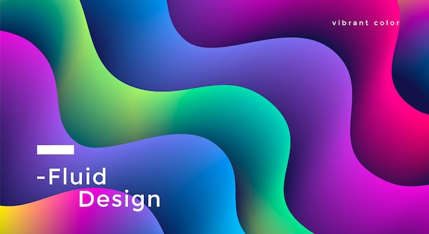Fluid wide background design with vibrant colorful wave shapes