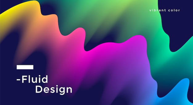 생생한 다채로운 물결 모양의 유체 와이드 포스터 디자인. 삽화