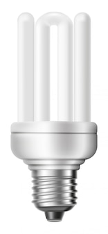 Fluorescent energy saving light bulb isolated on white background.