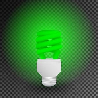 Fluorescent green economical light bulb glowing