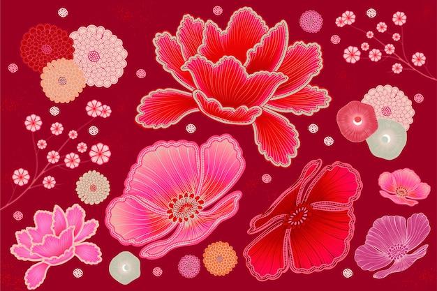 형광 핑크와 자홍색 플로랄 디자인 요소