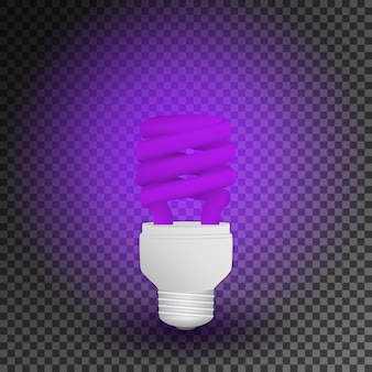 Fluorescent ultraviolet economical light bulb glowing lamp.