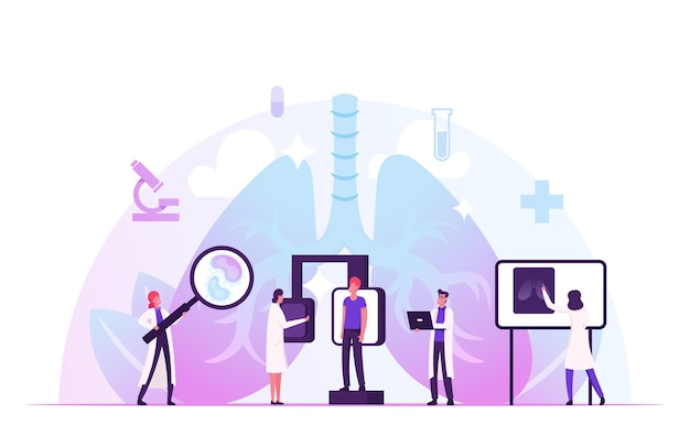 クリニックの呼吸器科での蛍光検査。肺x線医療診断検査。漫画フラットイラスト