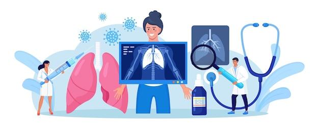 Флюорография и рентгеновское сканирование пациента. врач делает рентген грудной клетки. радиолог проводит процедуру обследования легких, анализирует рентгеноскопические снимки, рентгеновские снимки, рентгенографию грудной клетки.