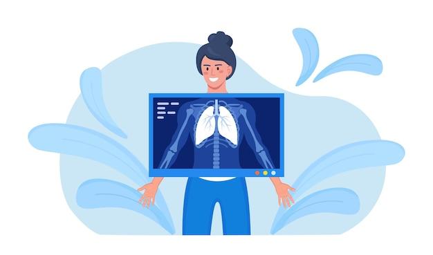 入院中の患者のフルオログラフィー検査。女性のx線スキャン。胸部x線スクリーニング。レントゲン写真、胸部レントゲン。肺の検査。結核、癌、喘息を伴う肺