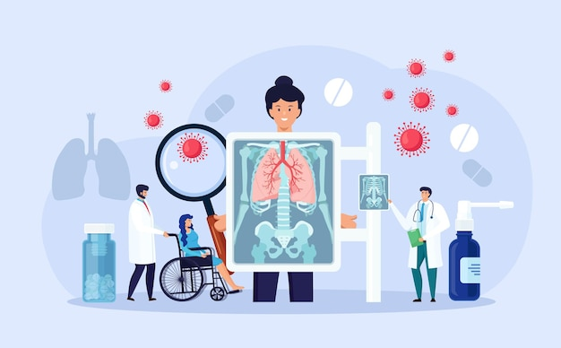 Fluorography and x ray scanning of patient. chest x-ray screening. radiologist doing lungs checkup procedure, analysing fluoroscopy images, roentgen photography. pneumonia, lungs inflammation