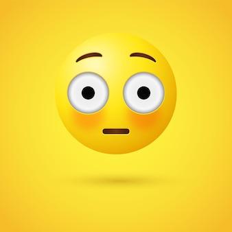 눈을 크게 뜨고 붉어진 이모티콘 얼굴