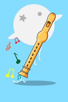 Flute cartoon illustration