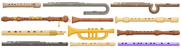 Флейта мультфильм установить значок. музыкальный инструмент иллюстрации на белой предпосылке. мультфильм установить значок флейта.