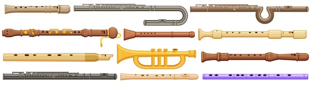 Flute  cartoon set icon.  illustration music instrument on white background.  cartoon set icon flute.