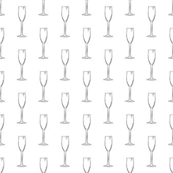 Flute glass. hand drawn empty champagne glass sketch seamless pattern.