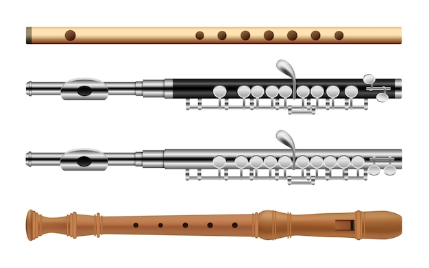 Flute musical instrument icons set