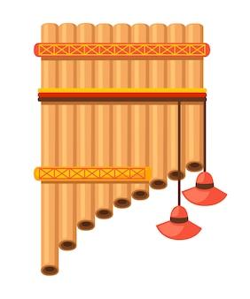 Сковорода флейты с традиционным узором индейцев. американский музыкальный инструмент. иллюстрация на белом фоне