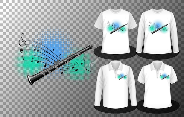 Flute with music notes logo with set of different shirts with flute with music notes logo screen on shirts