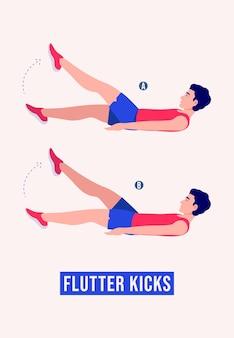 Упражнение flutter kicks мужчины тренировки фитнес аэробика и упражнения