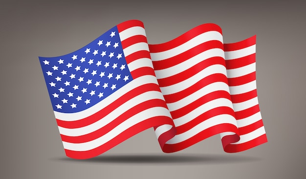 Развевается, размахивая реалистичным американским флагом, национальным символом