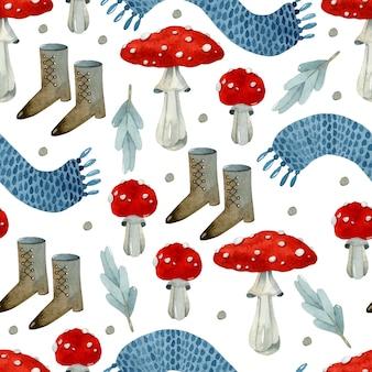 Мухомор гриб осенью акварель бесшовный фон