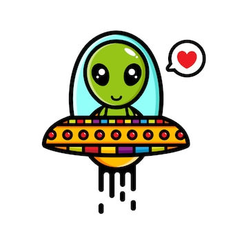 Fly aliens riding ufo with love