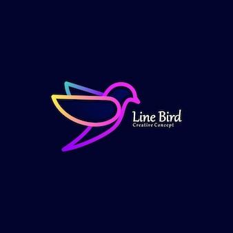 Fly bird gradient color modern line art logo template