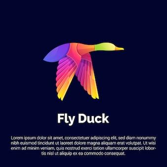Красочный шаблон логотипа fly duck.