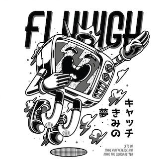 Fly high black and white illustration