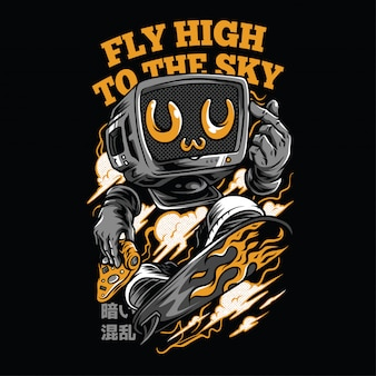 Fly high to the sky neon  illustration