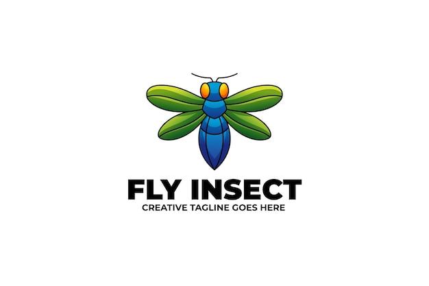 수채화 스타일의 비행 곤충 마스코트 로고