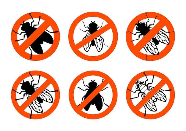 ハエ虫禁止標識黒シルエット