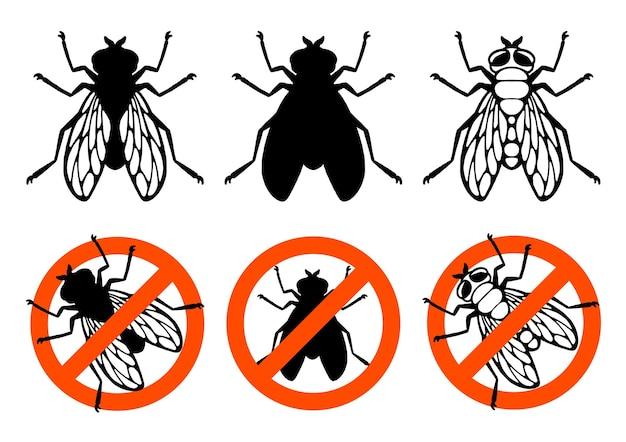 Знак запрета мух насекомых наброски силуэт