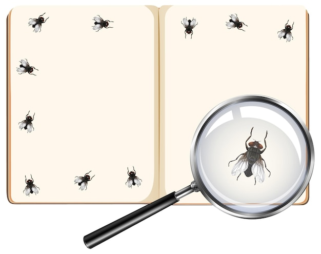 Fly insects on blank book pages with magnifying glass isolated on white background