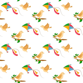 Fly kite seamless pattern with wind and cute birds on tree branch.