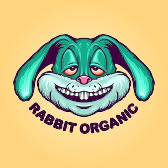 Fly rabbit organic mascot logo