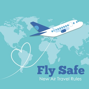 Fly safe campaign with airplane flying and earth maps vector illustration design