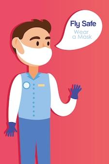 Безопасный полет кампании с мужской стюардессой, говорящей векторной иллюстрацией дизайна