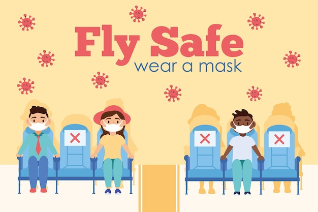 Fly safe campaign with passengers in airplane chairs vector illustration design