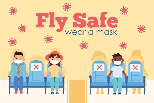 Кампания по безопасности полетов с пассажирами в креслах самолета, дизайн векторной иллюстрации