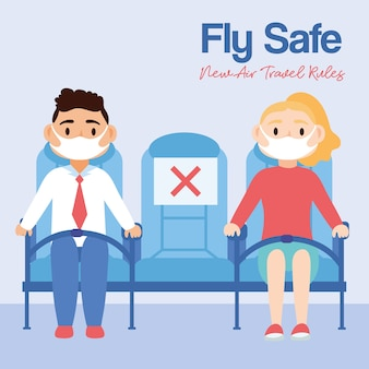 Fly safe campaign with persons in airplane chairs vector illustration design