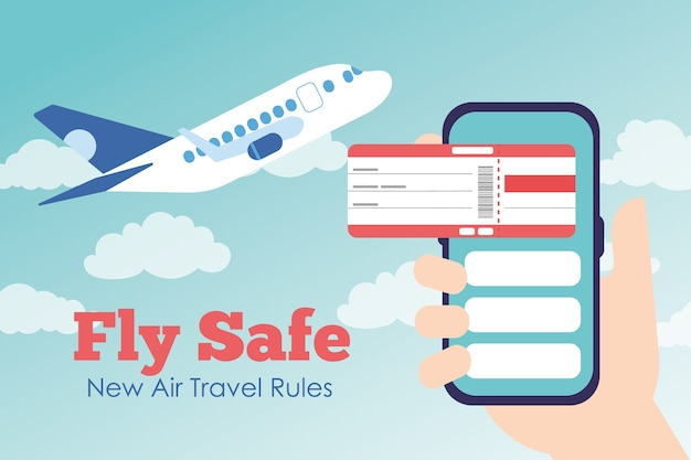 Fly safe campaign with ticket flight in smartphone and airplane flying vector illustration design