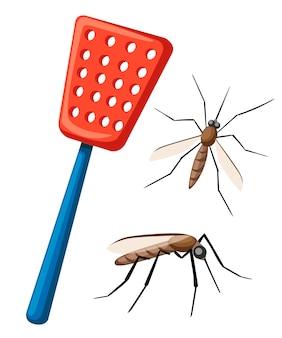 Мухобойка с комарами. средство для уничтожения насекомых в домашних условиях. красная мухобойка с синей ручкой. плоский рисунок, изолированные на белом фоне.