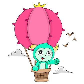 Fly with a hot air balloon. cartoon illustration cute sticker